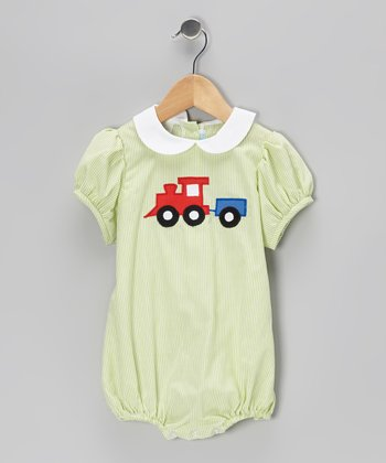 Lime Stripe Train Puff-Sleeve Bubble Bodysuit - Infant