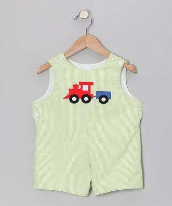 Lime Stripe Train Shortalls - Infant & Toddler
