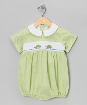 Green Turtle Smocked Bubble Bodysuit - Infant