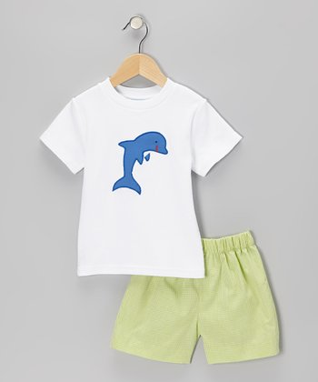 White Dolphin Tee & Lime Gingham Shorts - Toddler & Boys