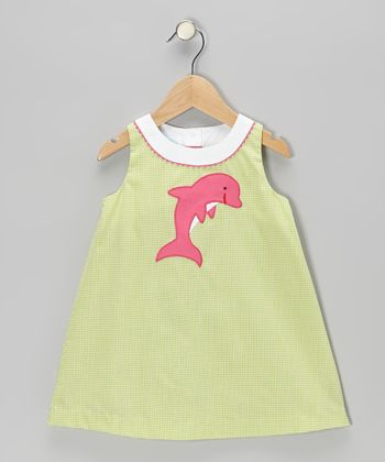 Lime Gingham Dolphin Swing Dress - Infant & toddler