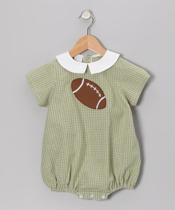 Green Plaid Football Bubble Bodysuit - Infant