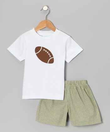 White Football Tee & Green Plaid Shorts - Infant & Boys