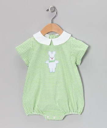 Green Gingham Bunny Bubble Bodysuit - Infant
