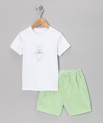 Blue Bunny Tee & Green Gingham Shorts - Infant & Boys