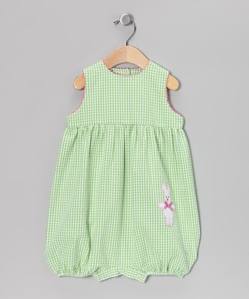 Green & Pink Gingham Bunny Bubble Bodysuit - Infant