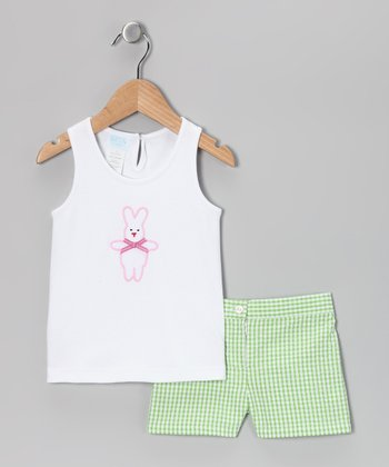 Pink Bunny Tank & Green Gingham Shorts - Toddler & Girls