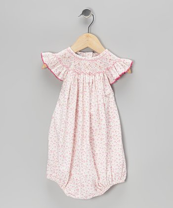 Pink Floral Smocked Bubble Bodysuit - Infant