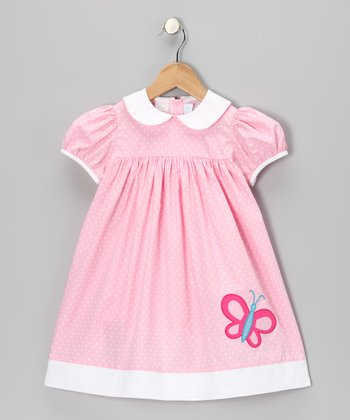 Pink Polka Dot Butterfly Dress - Infant & Toddler
