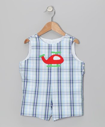 Blue Plaid Helicopter Shortalls - Infant & Toddler