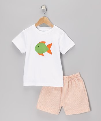 White Fish Tee & Orange Seersucker Stripe Shorts - Toddler & Boys