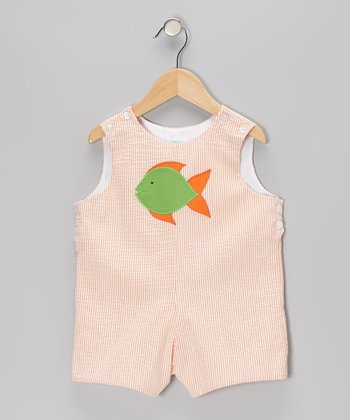 Orange Seersucker Stripe Fish Shortalls - Infant & Toddler