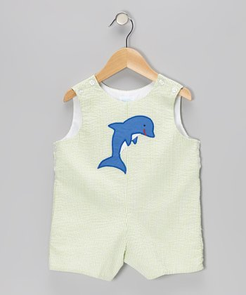 Green Seersucker Stripe Dolphin Shortalls - Infant & Toddler