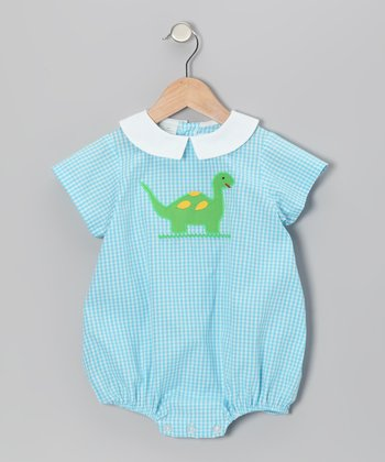 Aqua Gingham Dinosaur Bubble Bodysuit - Infant