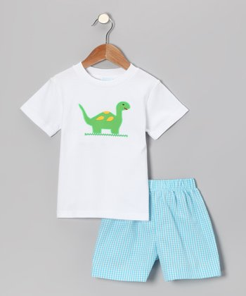 White Dinosaur Tee & Aqua Gingham Shorts - Infant & Boys