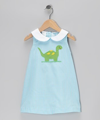 Aqua Gingham Dinosaur A-Line Dress - Toddler & Girls