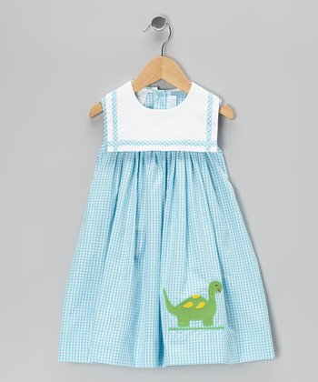 Aqua Gingham Dinosaur Sailor Float Dress - Infant & Toddler