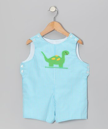 Aqua Gingham Dinosaur Shortalls - Toddler