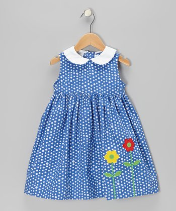Blue Polka Dot Flower Sundress - Girls