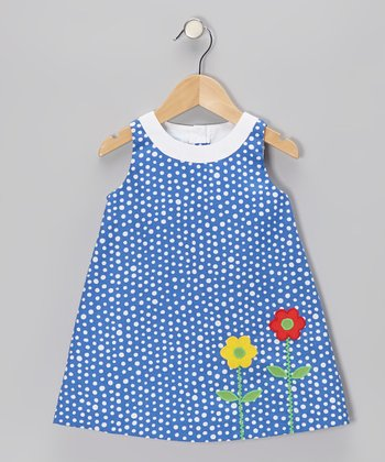 Blue Polka Dot Flower Swing Dress - Infant & Toddler