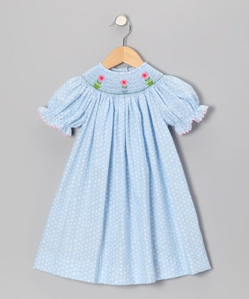Light Blue Polka Dot Daisy Bishop Dress - Toddler