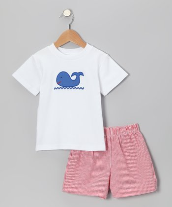 White Whale Tee & Red Gingham Shorts - Infant & Boys