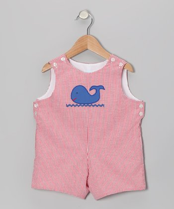 Red Gingham Whale Shortalls - Infant & Toddler