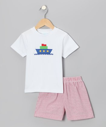White Boat Tee & Red Stripe Shorts - Infant & Boys