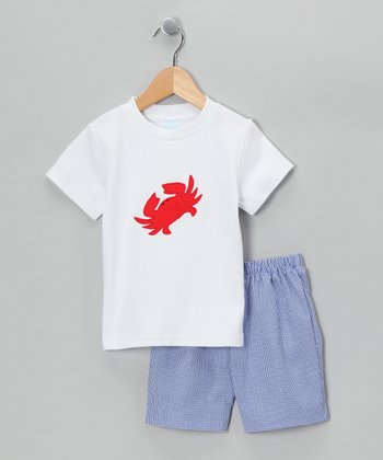 White Crab Tee & Blue Shorts - Infant