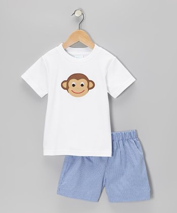 White Monkey Face Tee & Blue Gingham Shorts - Boys