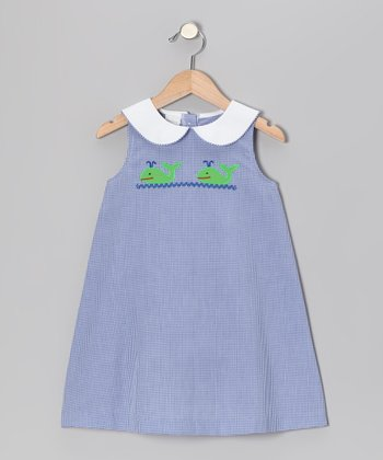 Blue Gingham Whale Swing Dress - Toddler & Girls