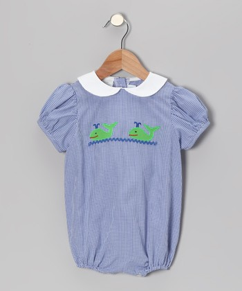 Blue Gingham Whale Puff-Sleeve Bubble Bodysuit - Infant