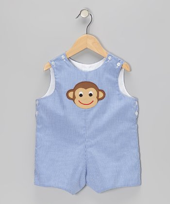 Blue Gingham Monkey Face Shortalls - Infant & Toddler