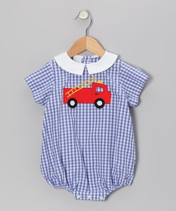 Blue Gingham Fire Truck Bubble Bodysuit - Infant