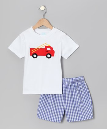White Truck Tee & Blue Gingham Shorts - Infant & Boys