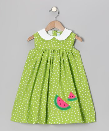 Lime Polka Dot Watermelon Float Dress - Infant & Toddler