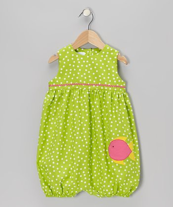 Lime Polka Dot Fish Bubble Romper - Infant