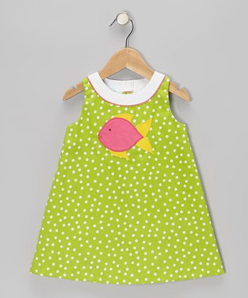 Lime Polka Dot Fish Swing Dress - Infant & Toddler