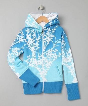 Blue & White Ombre Megan Zip-Up Hoodie - Girls