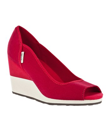 Red Mush Promenade Peep-Toe Wedge - Women