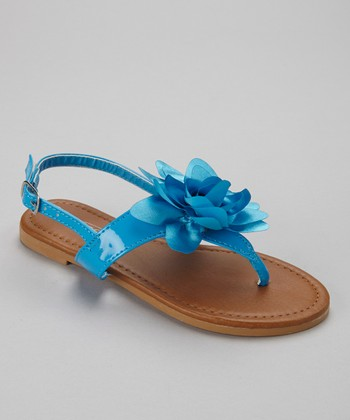 Light Blue Patent Paula Sandal
