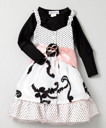 White & Black Polka Dot Dress Set - Toddler & Girls