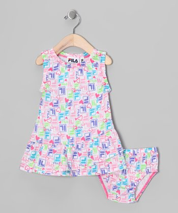 Rainbow 'FILA' Dress & Diaper Cover