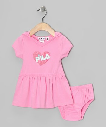 Pink Heart 'FILA' Dress & Diaper Cover