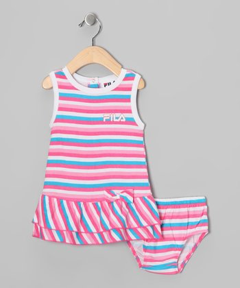 Pink Stripe Dress & Diaper Cover