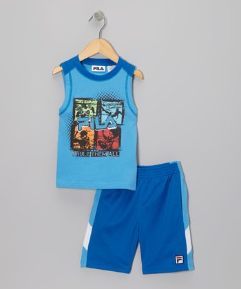 Blue 'I Rule Them All' Tank & Shorts - Toddler & Boys