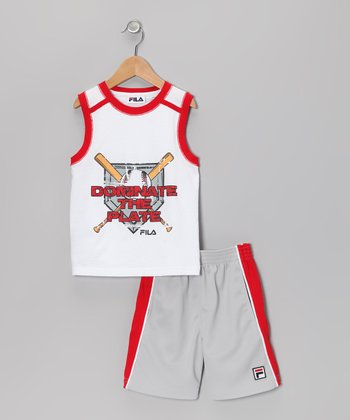 White 'Donate The Plate' Tank & Shorts - Toddler & Boys