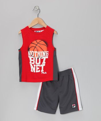 Red 'Nothing But Net' Tank & Shorts - Toddler & Boys