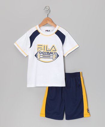 White 'FILA Football' Tee & Shorts