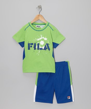 Green & Navy 'FILA' Soccer Tee & Shorts - Toddler & Boys